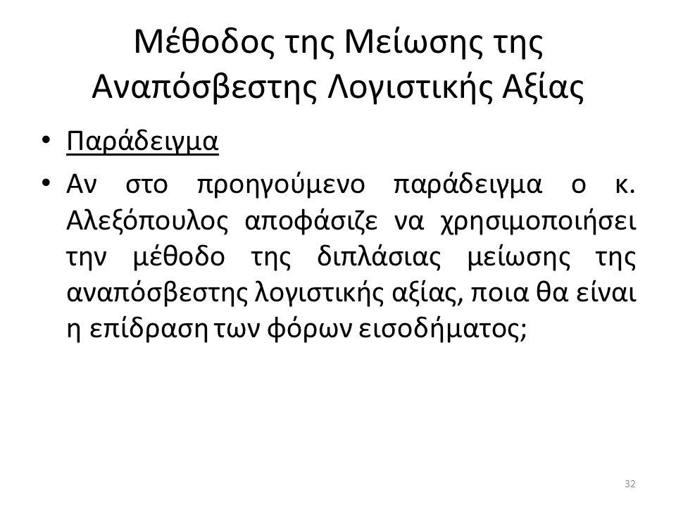 Μέθοδος της Μείωσης της Αναπόσβεστης Λογιστικής Αξίας Παράδειγμα Αν στο προηγούμενο παράδειγμα ο κ. Αλεξόπουλος αποφάσιζε να χρησιμοποιήσει την μέθοδο