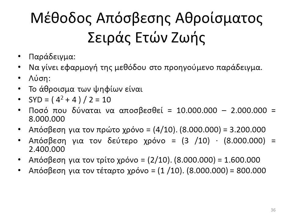 Μέθοδος Απόσβεσης Αθροίσματος Σειράς Ετών Ζωής Παράδειγμα: Να γίνει εφαρμογή της μεθόδου στο προηγούμενο παράδειγμα. Λύση: Το άθροισμα των ψηφίων είνα