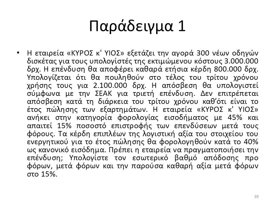 Παράδειγμα 1 Η εταιρεία «ΚΥΡΟΣ κ' ΥΙΟΣ» εξετάζει την αγορά 300 νέων οδηγών δισκέτας για τους υπολογίστές της εκτιμώμενου κόστους 3.000.000 δρχ. Η επέν