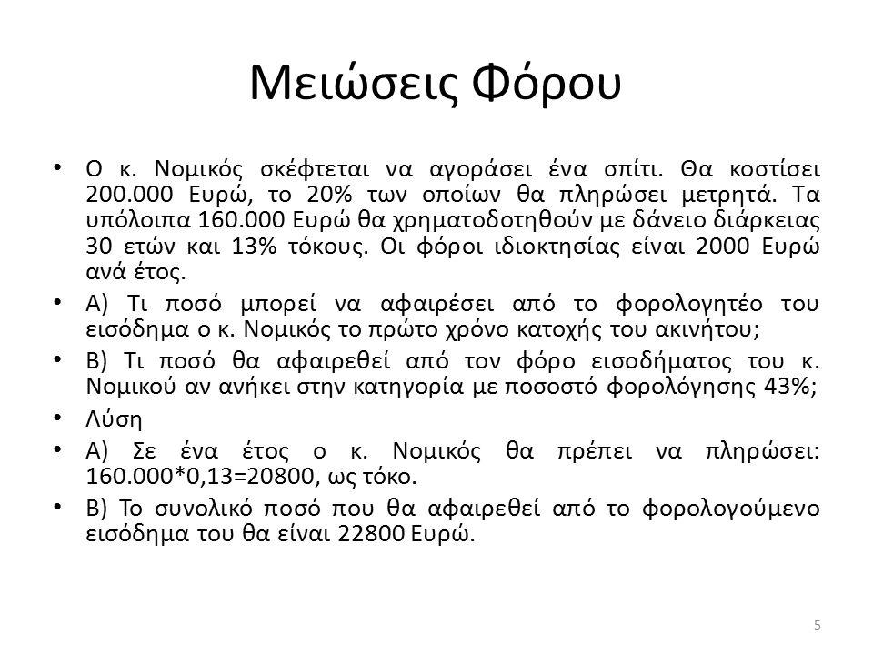 Μειώσεις Φόρου Ο κ. Νομικός σκέφτεται να αγοράσει ένα σπίτι. Θα κοστίσει 200.000 Ευρώ, το 20% των οποίων θα πληρώσει μετρητά. Τα υπόλοιπα 160.000 Ευρώ