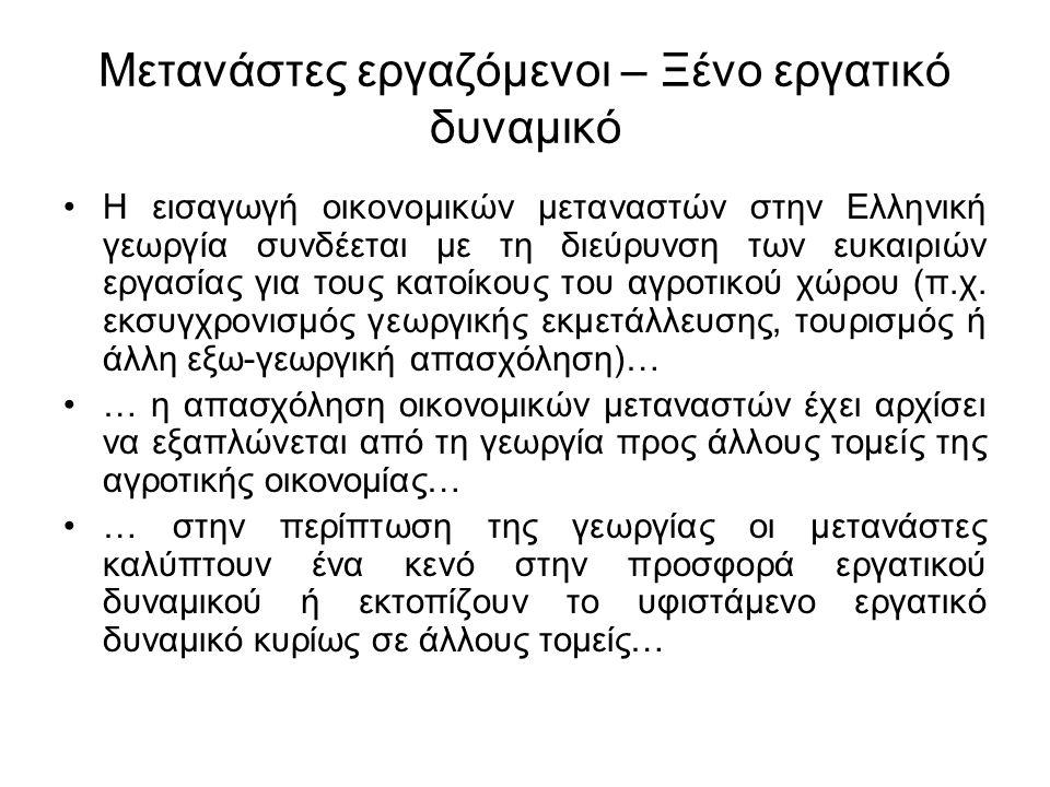 Μετανάστες εργαζόμενοι – Ξένο εργατικό δυναμικό Τα παραπάνω συμβάλλουν στη διαμόρφωση νέων κοινωνικών διαφοροποιήσεων και στη συγκρότηση νέων κοινωνικών ομάδων μεταναστών στην ελληνική ύπαιθρο… 1- μετανάστες που απασχολούνται σαν μόνιμο ή ημι- μόνιμο εργατικό δυναμικό στη γεωργία.