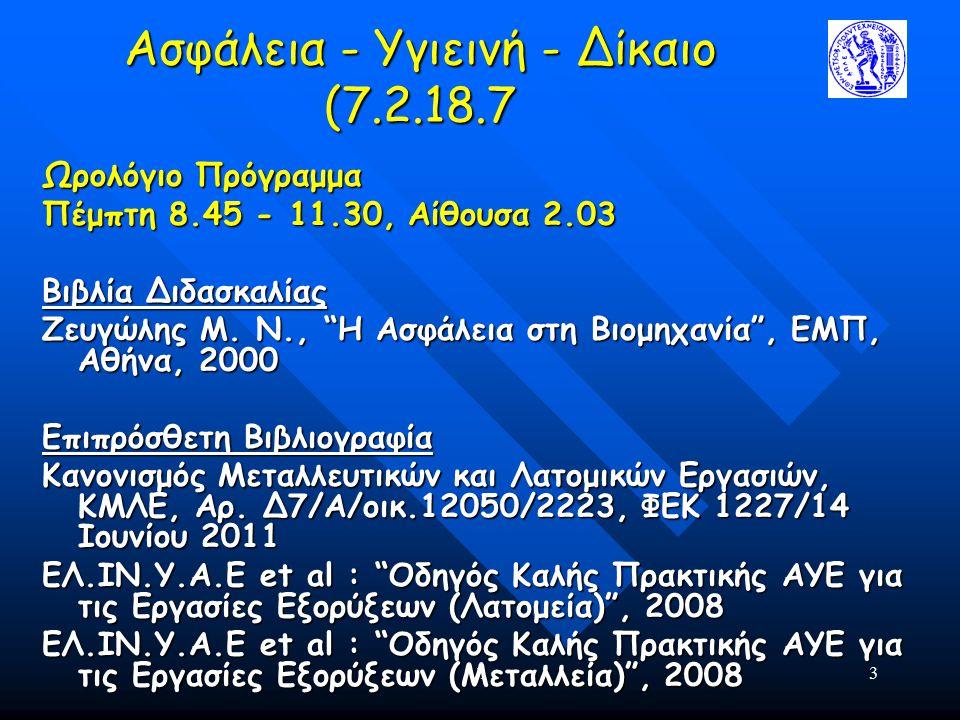 14 Ασφάλεια - Υγιεινή - Δίκαιο (7.2.18.7 Ηλεκτρονική Βιβλιογραφία www.ilo.org www.elinyae.gr www.latomet.gr http://osha.europa.eu//en/publications http://epp.eurostat.ec.europa.eu/portal/page/portal/ health/introduction