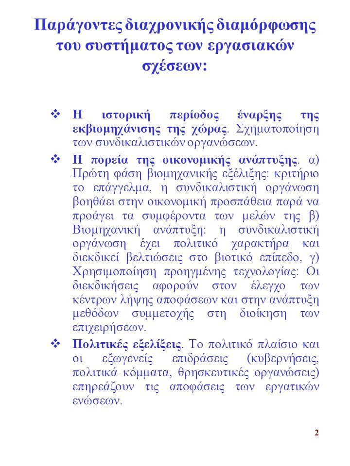 2 Παράγοντες διαχρονικής διαμόρφωσης του συστήματος των εργασιακών σχέσεων:  Η ιστορική περίοδος έναρξης της εκβιομηχάνισης της χώρας.