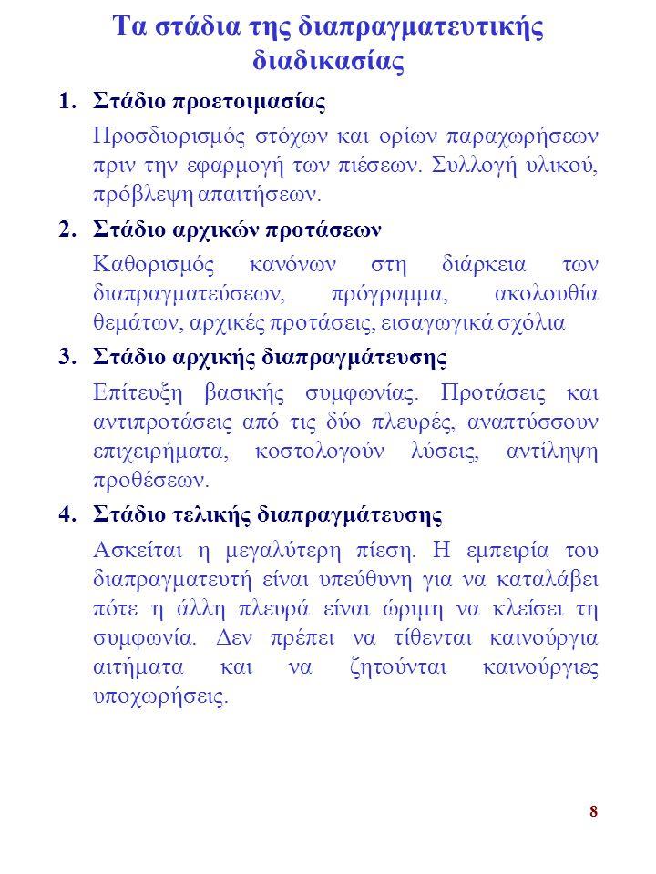 8 Τα στάδια της διαπραγματευτικής διαδικασίας 1.Στάδιο προετοιμασίας Προσδιορισμός στόχων και ορίων παραχωρήσεων πριν την εφαρμογή των πιέσεων.