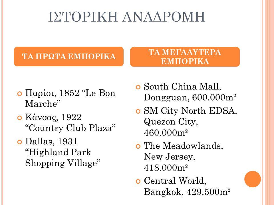 """ΙΣΤΟΡΙΚΗ ΑΝΑΔΡΟΜΗ Παρίσι, 1852 """"Le Bon Marche"""" Κάνσας, 1922 """"Country Club Plaza"""" Dallas, 1931 """"Highland Park Shopping Village"""" South China Mall, Dongg"""