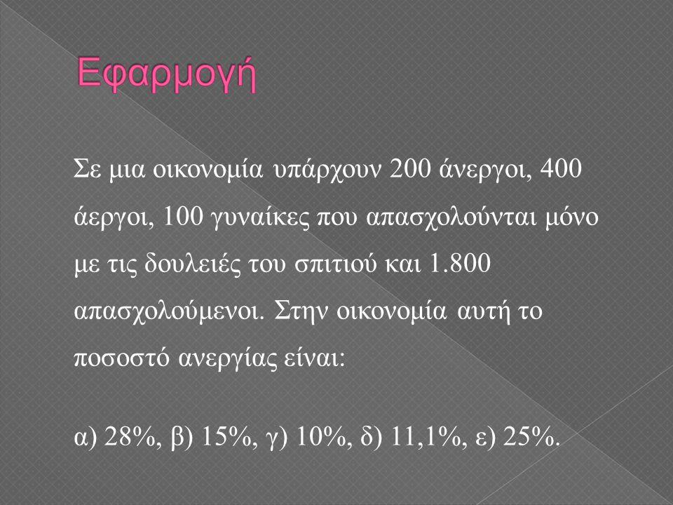 Σε μια οικονομία υπάρχουν 200 άνεργοι, 400 άεργοι, 100 γυναίκες που απασχολούνται μόνο με τις δουλειές του σπιτιού και 1.800 απασχολούμενοι. Στην οικο