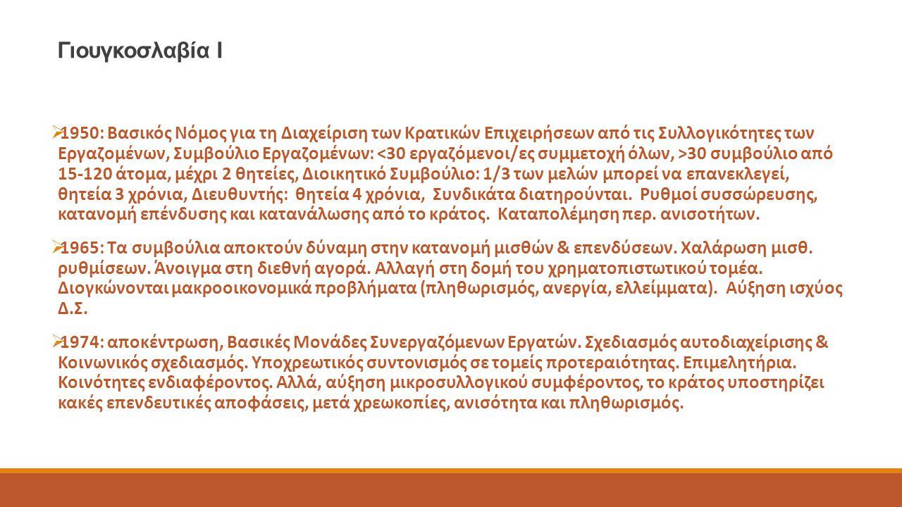 Γιουγκοσλαβία Ι  1950: Βασικός Νόμος για τη Διαχείριση των Κρατικών Επιχειρήσεων από τις Συλλογικότητες των Εργαζομένων, Συμβούλιο Εργαζομένων: 30 συ