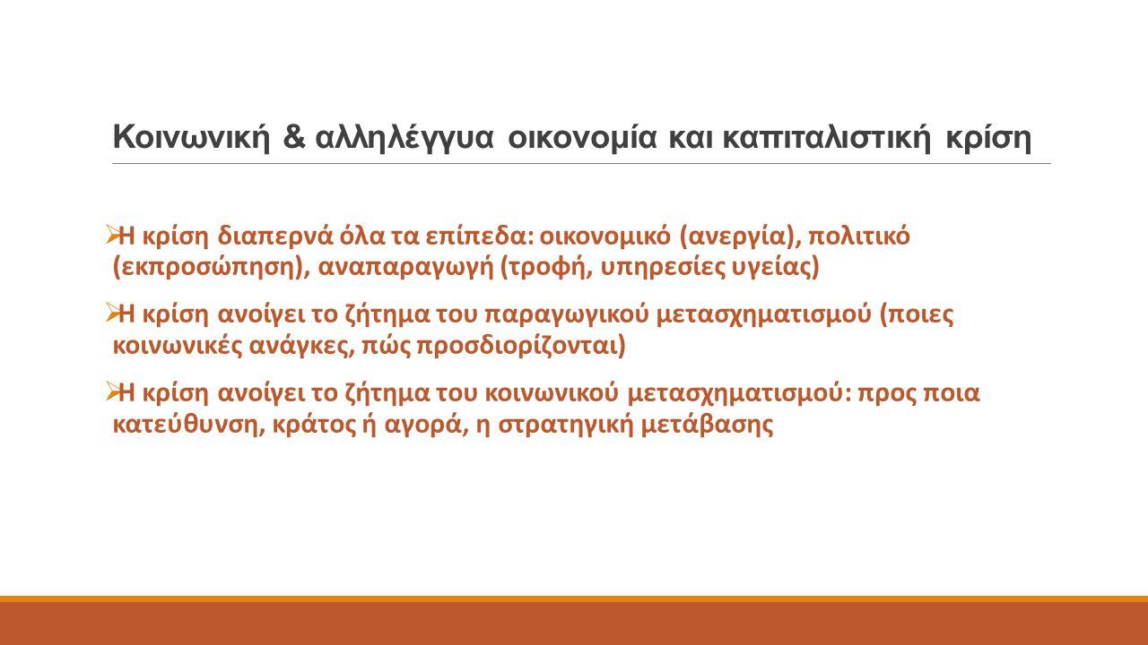Παραδείγματα στην περίοδο της κρίσης  Συνεταιρισμοί (632 ΚΟΙΝΣΕΠ αλλά και αστικοί συνεταιρισμοί)  Λαϊκές αγορές χωρίς μεσάζοντες, συλλογικές κουζίνες, κοινωνικά παντοπωλεία  Κοινωνικά φροντιστήρια (εθελοντικά, έμμισθα)  Κοινωνικά ιατρεία αλληλεγγύης (75 δομές σε όλη την Ελλάδα)
