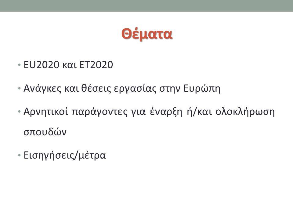 Θέματα EU2020 και ET2020 Ανάγκες και θέσεις εργασίας στην Ευρώπη Αρνητικοί παράγοντες για έναρξη ή/και ολοκλήρωση σπουδών Εισηγήσεις/μέτρα