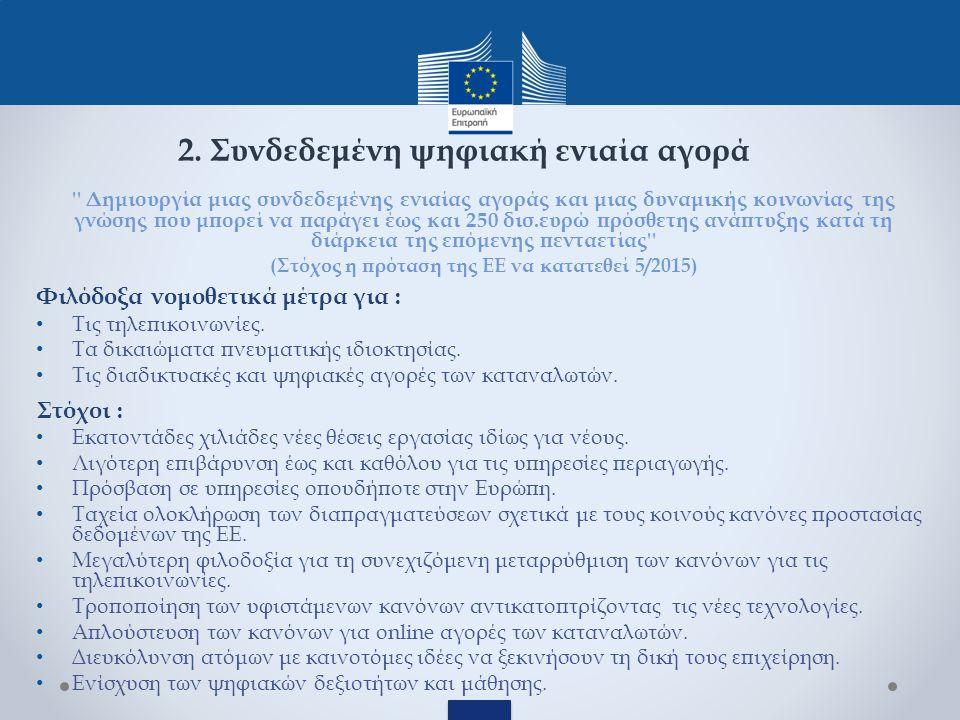 Δημιουργία μιας συνδεδεμένης ενιαίας αγοράς και μιας δυναμικής κοινωνίας της γνώσης που μπορεί να παράγει έως και 250 δισ.ευρώ πρόσθετης ανάπτυξης κατά τη διάρκεια της επόμενης πενταετίας (Στόχος η πρόταση της ΕΕ να κατατεθεί 5/2015) Φιλόδοξα νομοθετικά μέτρα για : Τις τηλεπικοινωνίες.