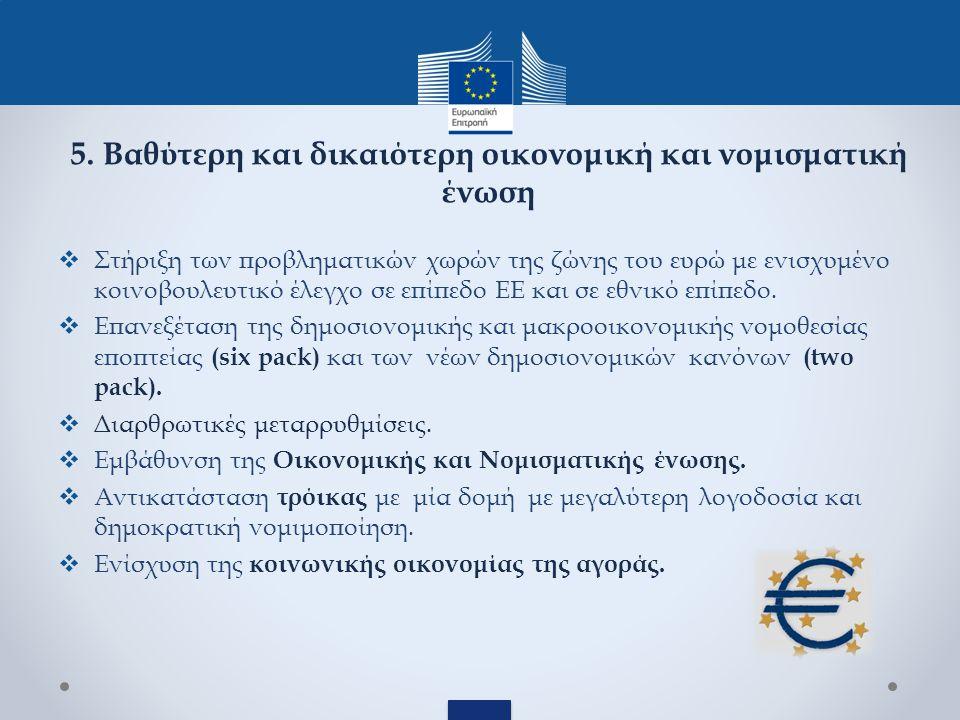 5. Βαθύτερη και δικαιότερη οικονομική και νομισματική ένωση  Στήριξη των προβληματικών χωρών της ζώνης του ευρώ με ενισχυμένο κοινοβουλευτικό έλεγχο