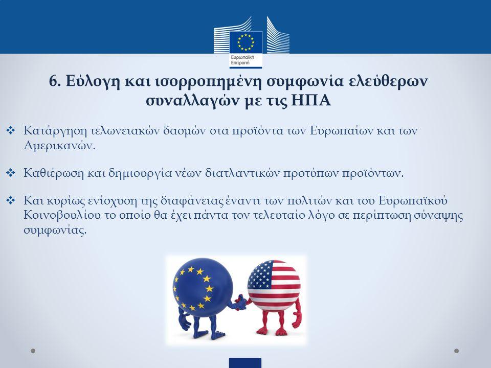  Κατάργηση τελωνειακών δασμών στα προϊόντα των Ευρωπαίων και των Αμερικανών.