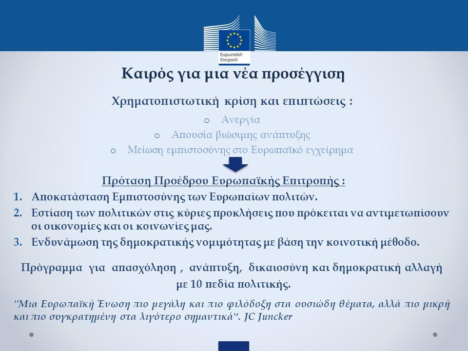 Χρηματοπιστωτική κρίση και επιπτώσεις : o Ανεργία o Απουσία βιώσιμης ανάπτυξης o Μείωση εμπιστοσύνης στο Ευρωπαϊκό εγχείρημα Πρόταση Προέδρου Ευρωπαϊκής Επιτροπής : 1.Αποκατάσταση Εμπιστοσύνης των Ευρωπαίων πολιτών.
