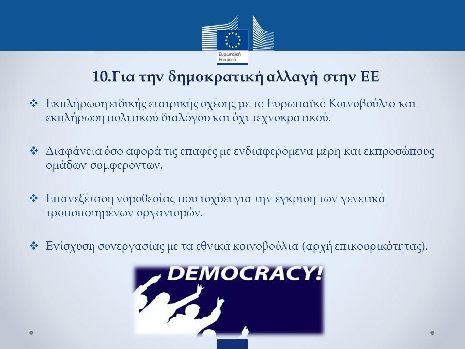  Εκπλήρωση ειδικής εταιρικής σχέσης με το Ευρωπαϊκό Κοινοβούλιο και εκπλήρωση πολιτικού διαλόγου και όχι τεχνοκρατικού.