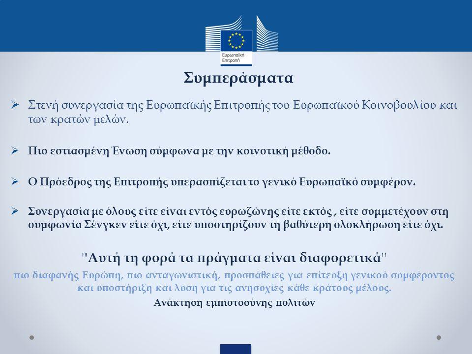  Στενή συνεργασία της Ευρωπαϊκής Επιτροπής του Ευρωπαϊκού Κοινοβουλίου και των κρατών μελών.
