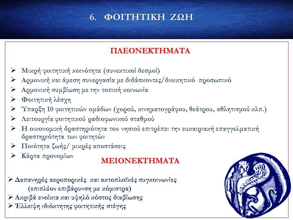 ΠΛΕΟΝΕΚΤΗΜΑΤΑ  Μικρή φοιτητική κοινότητα (συνεκτικοί δεσμοί)  Αρμονική και άμεση συνεργασία με διδάσκοντες/διοικητικό προσωπικό  Αρμονική συμβίωση