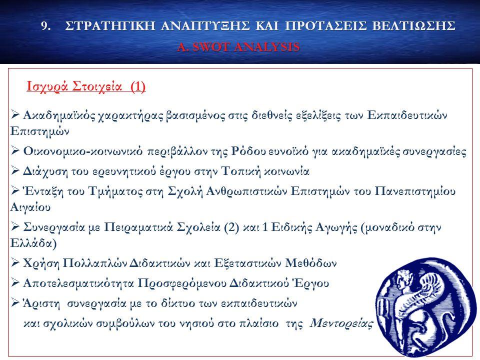 9.ΣΤΡΑΤΗΓΙΚΗ ΑΝΑΠΤΥΞΗΣ ΚΑΙ ΠΡΟΤΑΣΕΙΣ ΒΕΛΤΙΩΣΗΣ Α. SWOT ANALYSIS Ισχυρά Στοιχεία (1)  Ακαδημαϊκός χαρακτήρας βασισμένος στις διεθνείς εξελίξεις των Εκ