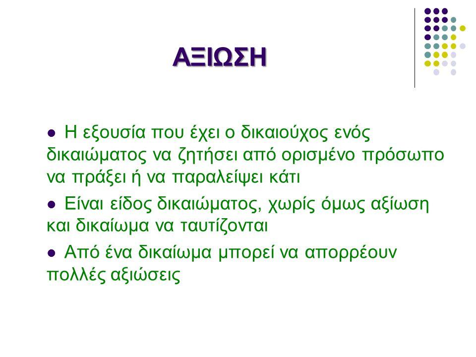 ΑΓΩΓΗ Ουσιαστική έννοια: ταυτίζεται με το δικαίωμα ή την αξίωση Δικονομική: το δικαίωμά μας να ζητήσουμε από την Πολιτεία έννομη προστασία ( ενάγων- εναγόμενος) Παραδείγματα περιλαμβάνονται στην σελίδα του:http://www.dsa.gr /http://www.dsa.gr /