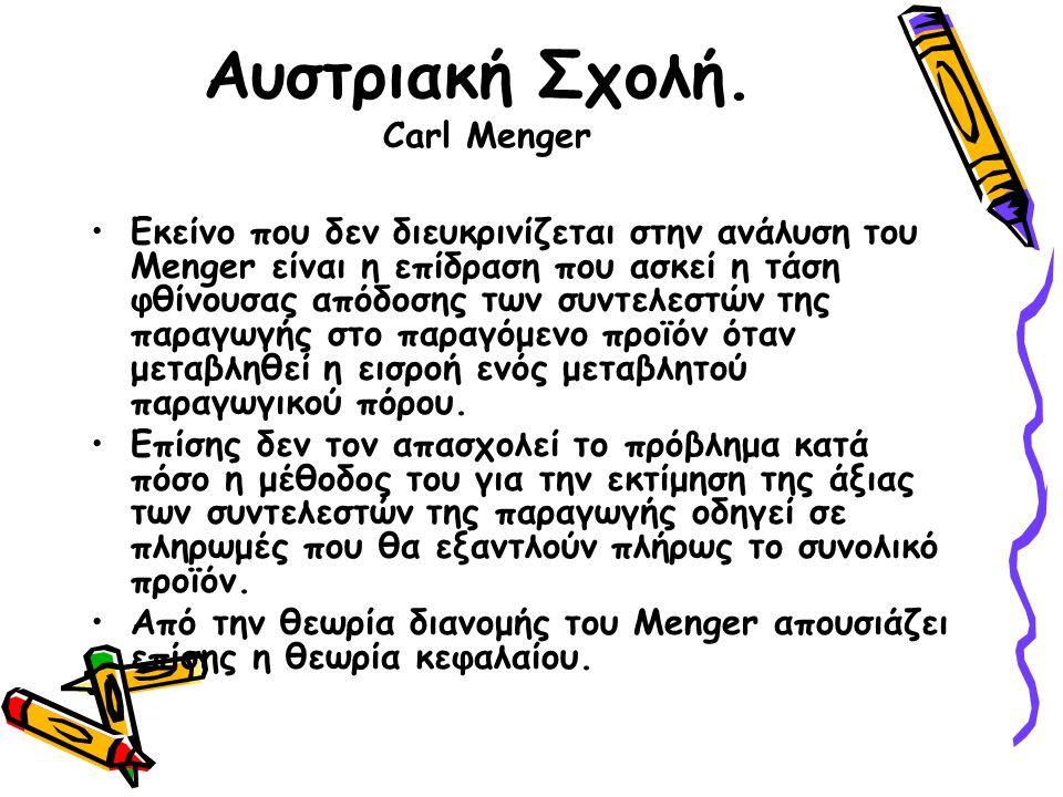 Αυστριακή Σχολή. Carl Menger Εκείνο που δεν διευκρινίζεται στην ανάλυση του Menger είναι η επίδραση που ασκεί η τάση φθίνουσας απόδοσης των συντελεστώ
