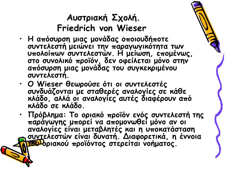 Αυστριακή Σχολή. Friedrich von Wieser Η απόσυρση μιας μονάδας οποιουδήποτε συντελεστή μειώνει την παραγωγικότητα των υπολοίπων συντελεστών. Η μείωση,