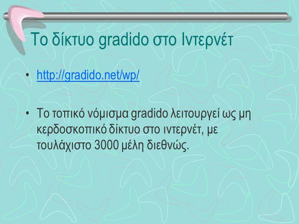Το δίκτυο gradido στο Ιντερνέτ http://gradido.net/wp/ Το τοπικό νόμισμα gradido λειτουργεί ως μη κερδοσκοπικό δίκτυο στο ιντερνέτ, με τουλάχιστο 3000 μέλη διεθνώς.