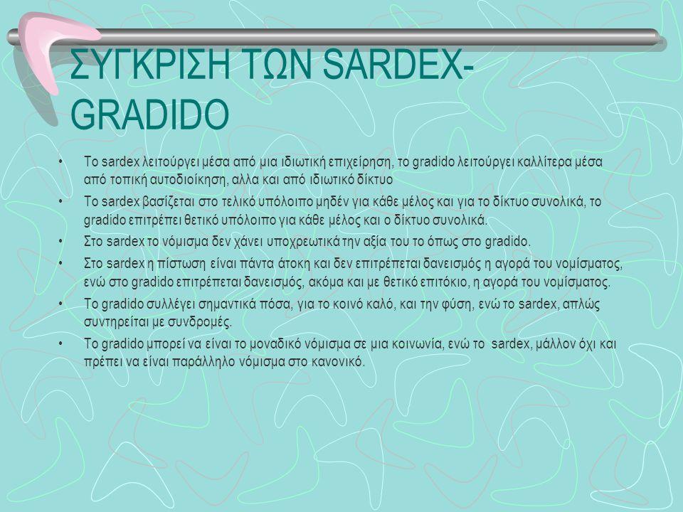 ΣΥΓΚΡΙΣΗ ΤΩΝ SARDEX- GRADIDO To sardex λειτούργει μέσα από μια ιδιωτική επιχείρηση, το gradido λειτούργει καλλίτερα μέσα από τοπική αυτοδιοίκηση, αλλα και από ιδιωτικό δίκτυο To sardex βασίζεται στο τελικό υπόλοιπο μηδέν για κάθε μέλος και για το δίκτυο συνολικά, το gradido επιτρέπει θετικό υπόλοιπο για κάθε μέλος και ο δίκτυο συνολικά.
