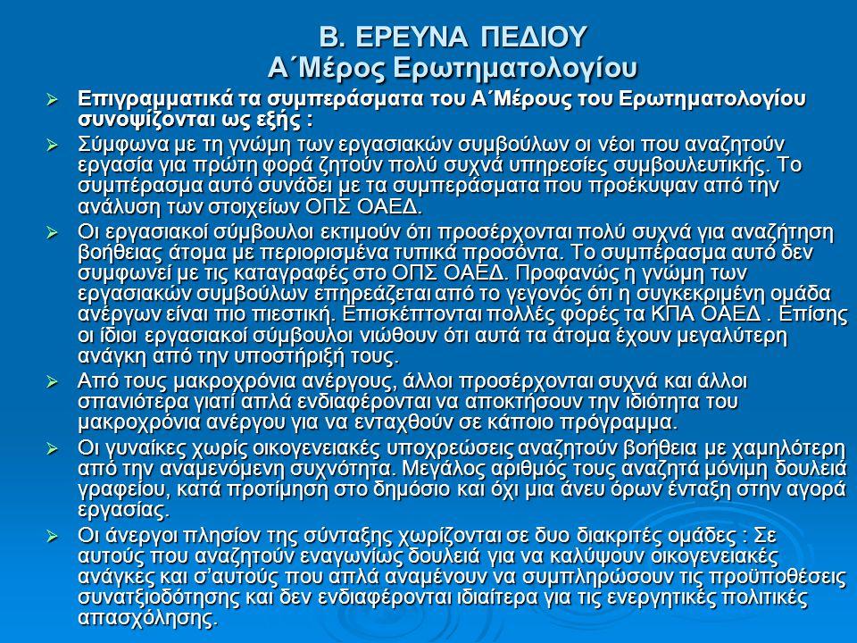 Β. ΕΡΕΥΝΑ ΠΕΔΙΟΥ Α΄Μέρος Ερωτηματολογίου  Επιγραμματικά τα συμπεράσματα του Α΄Μέρους του Ερωτηματολογίου συνοψίζονται ως εξής :  Σύμφωνα με τη γνώμη
