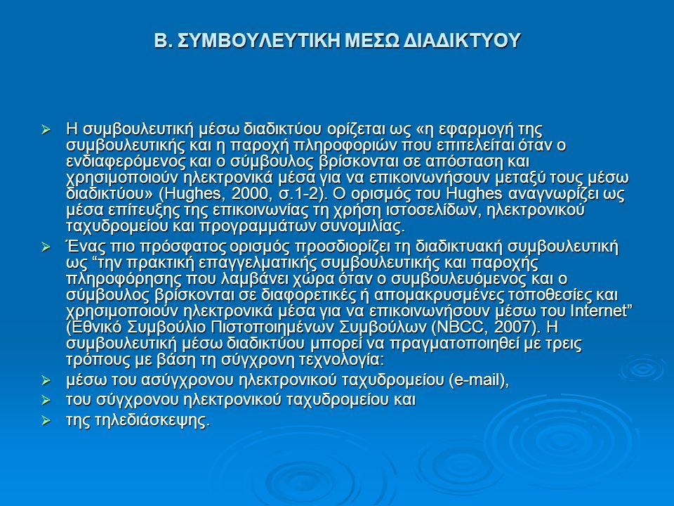 Β. ΣΥΜΒΟΥΛΕΥΤΙΚΗ ΜΕΣΩ ΔΙΑΔΙΚΤΥΟΥ Β. ΣΥΜΒΟΥΛΕΥΤΙΚΗ ΜΕΣΩ ΔΙΑΔΙΚΤΥΟΥ  Η συμβουλευτική μέσω διαδικτύου ορίζεται ως «η εφαρμογή της συμβουλευτικής και η π