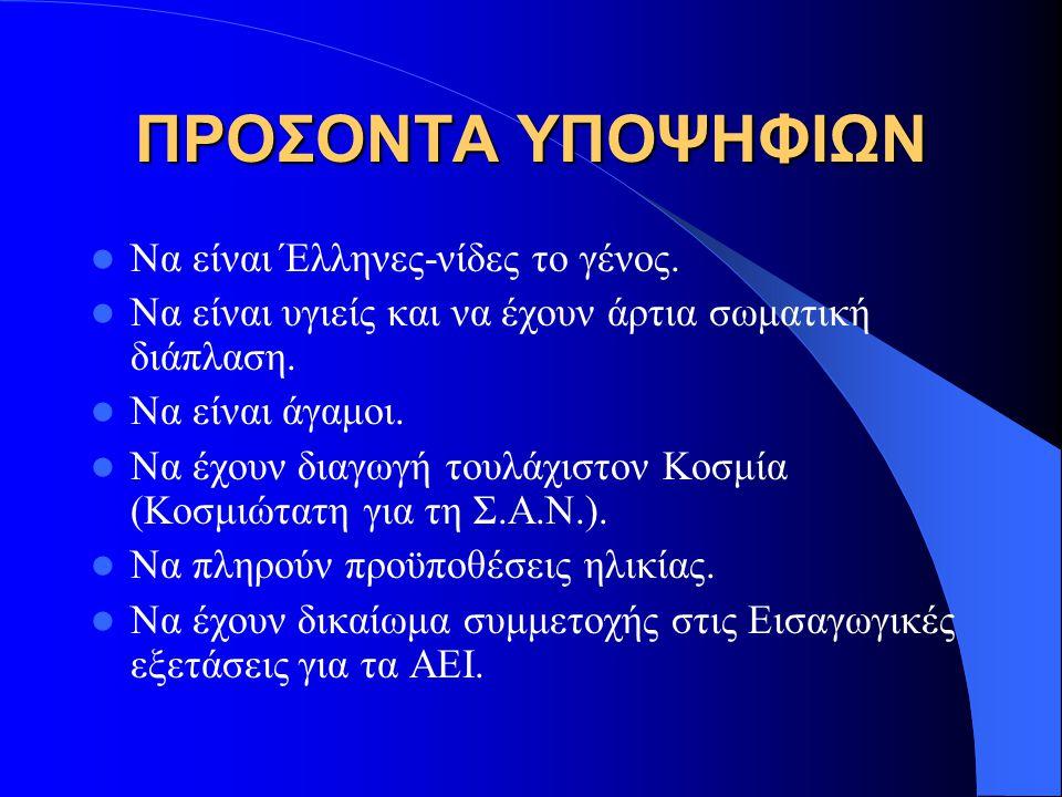 ΠΡΟΣΟΝΤΑ ΥΠΟΨΗΦΙΩΝ Να είναι Έλληνες-νίδες το γένος. Να είναι υγιείς και να έχουν άρτια σωματική διάπλαση. Να είναι άγαμοι. Να έχουν διαγωγή τουλάχιστο