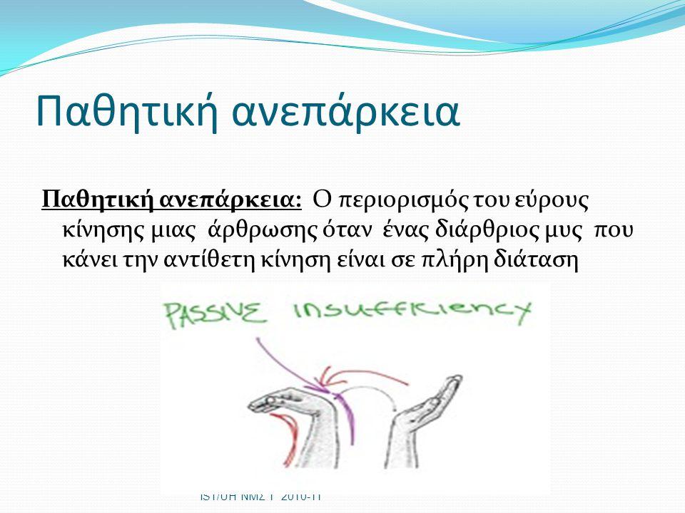 Παθητική ανεπάρκεια Παθητική ανεπάρκεια: Ο περιορισμός του εύρους κίνησης μιας άρθρωσης όταν ένας διάρθριος μυς που κάνει την αντίθετη κίνηση είναι σε πλήρη διάταση IST/UH ΝΜΣ 1 2010-11