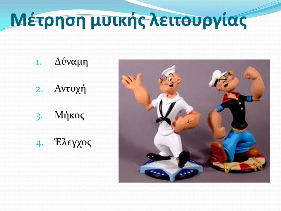 Μέτρηση μυικής λειτουργίας 1.Δύναμη 2.Αντοχή 3.Μήκος 4.Έλεγχος
