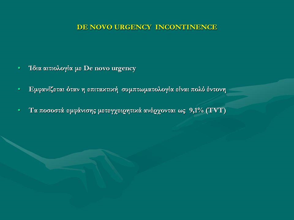 DE NOVO URGENCY INCONTINENCE Ίδια αιτιολογία με De novo urgencyΊδια αιτιολογία με De novo urgency Εμφανίζεται όταν η επιτακτική συμπτωματολογία είναι