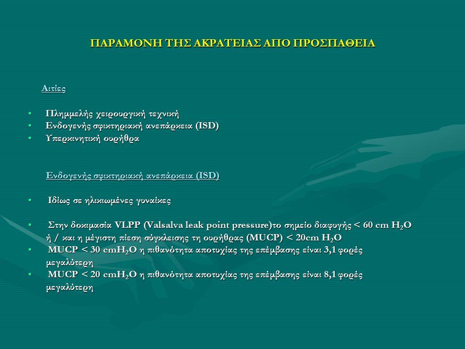 ΠΑΡΑΜΟΝΗ ΤΗΣ ΑΚΡΑΤΕΙΑΣ ΑΠΟ ΠΡΟΣΠΑΘΕΙΑ ΠΑΡΑΜΟΝΗ ΤΗΣ ΑΚΡΑΤΕΙΑΣ ΑΠΟ ΠΡΟΣΠΑΘΕΙΑ Υπερκινητική ουρήθρα Υπερκινητική ουρήθρα Η κινητικότητα της ουρήθρας ( LDM), ορίζεται κατά τον υπερηχοτομογραφικό έλεγχο, ως η γραμμική κίνηση της ουρήθρας προς τα πίσω και κάτω (Linear Dorsocaudal Movement).Η κινητικότητα της ουρήθρας ( LDM), ορίζεται κατά τον υπερηχοτομογραφικό έλεγχο, ως η γραμμική κίνηση της ουρήθρας προς τα πίσω και κάτω (Linear Dorsocaudal Movement).