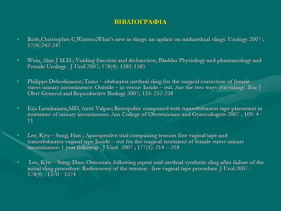 ΒΙΒΛΙΟΓΡΑΦΙΑ Roth,Christopher C,Winters;What's new in slings: an update on midurethral slings. Urology 2007 ; 17(4):242-247Roth,Christopher C,Winters;