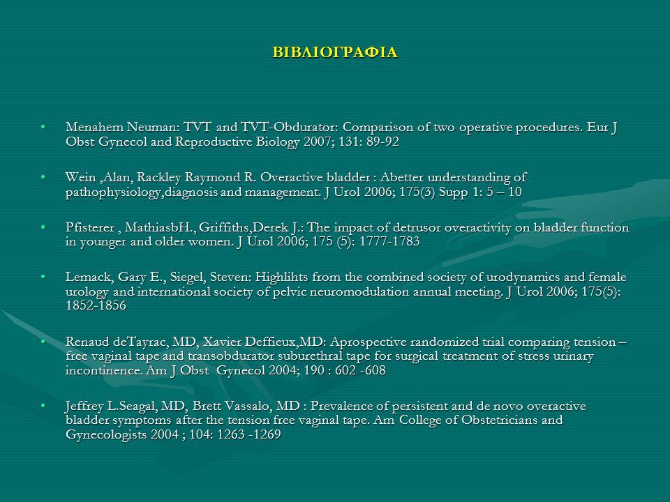 ΒΙΒΛΙΟΓΡΑΦΙΑ Menahem Neuman: TVT and TVT-Obdurator: Comparison of two operative procedures. Eur J Obst Gynecol and Reproductive Biology 2007; 131: 89-