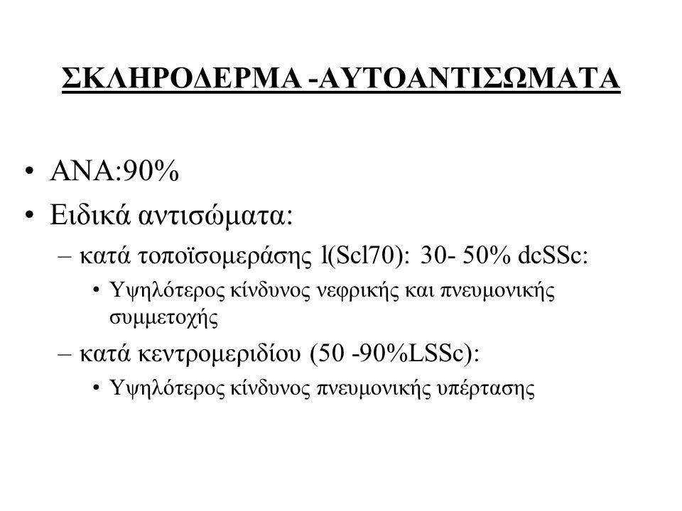 ΣΚΛΗΡΟΔΕΡΜΑ -ΑΥΤΟΑΝΤΙΣΩΜΑΤΑ ΑΝΑ:90% Ειδικά αντισώματα: –κατά τοποϊσομεράσης l(Scl70): 30- 50% dcSSc: Υψηλότερος κίνδυνος νεφρικής και πνευμονικής συμμ