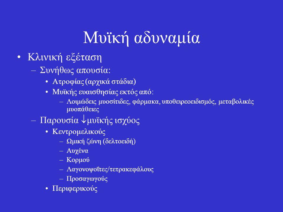 Μυϊκή αδυναμία Κλινική εξέταση –Συνήθως απουσία: Ατροφίας (αρχικά στάδια) Μυϊκής ευαισθησίας εκτός από: –Λοιμώδεις μυοσίτιδες, φάρμακα, υποθειρεοειδισ