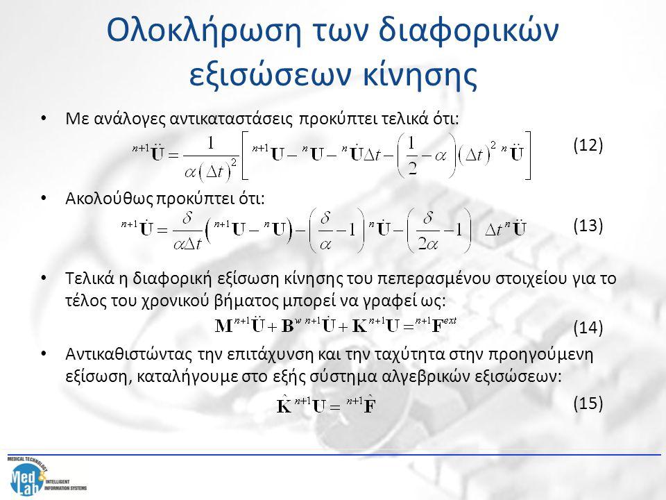 Ολοκλήρωση των διαφορικών εξισώσεων κίνησης Με ανάλογες αντικαταστάσεις προκύπτει τελικά ότι: (12) Ακολούθως προκύπτει ότι: (13) Τελικά η διαφορική εξ