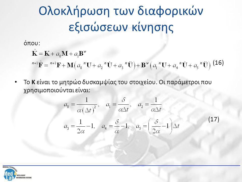 Ολοκλήρωση των διαφορικών εξισώσεων κίνησης όπου: (16) Το Κ είναι το μητρώο δυσκαμψίας του στοιχείου. Οι παράμετροι που χρησιμοποιούνται είναι: (17)