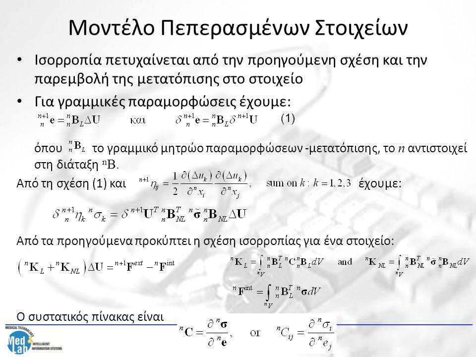 Μοντέλο Πεπερασμένων Στοιχείων Ισορροπία πετυχαίνεται από την προηγούμενη σχέση και την παρεμβολή της μετατόπισης στο στοιχείο Για γραμμικές παραμορφώ