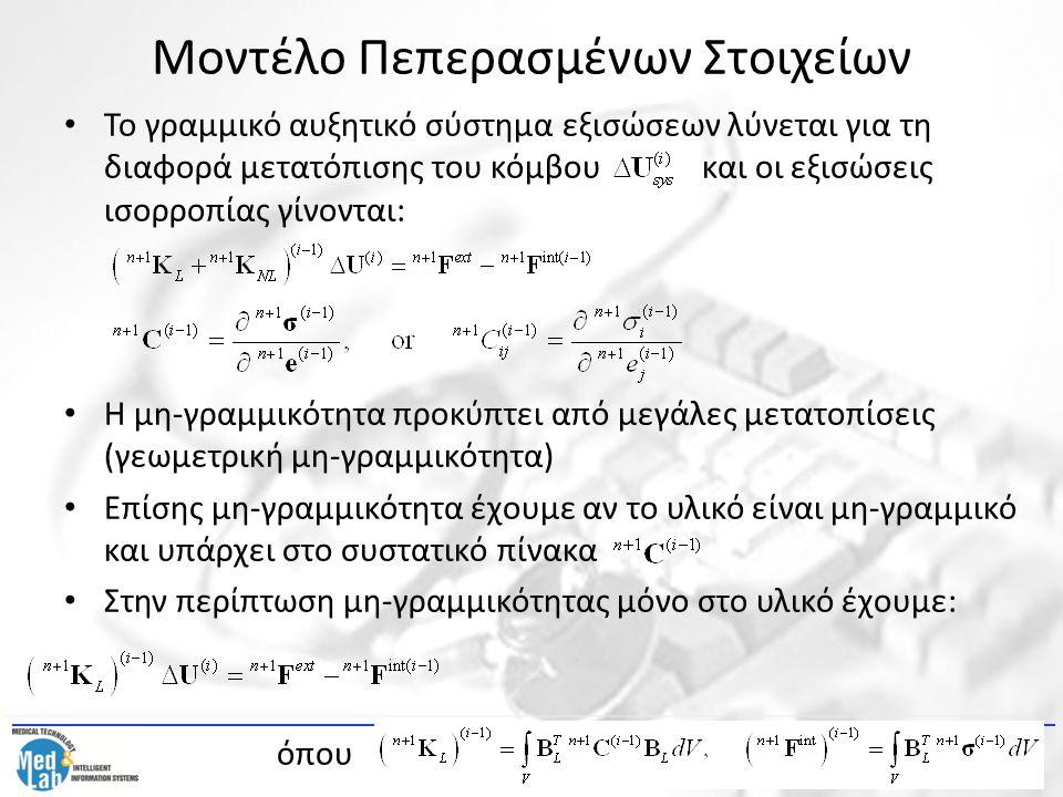 Μοντέλο Πεπερασμένων Στοιχείων Το γραμμικό αυξητικό σύστημα εξισώσεων λύνεται για τη διαφορά μετατόπισης του κόμβουκαι οι εξισώσεις ισορροπίας γίνοντα