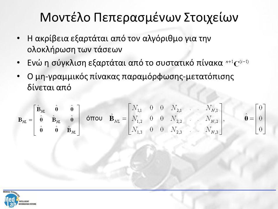 Μοντέλο Πεπερασμένων Στοιχείων Η ακρίβεια εξαρτάται από τον αλγόριθμο για την ολοκλήρωση των τάσεων Ενώ η σύγκλιση εξαρτάται από το συστατικό πίνακα Ο