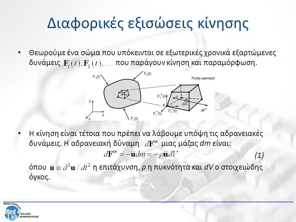 Διαφορικές εξισώσεις κίνησης Η αδρανειακή δύναμη είναι μια ογκομετρική δύναμη και το ισοδύναμο διάνυσμα αδρανειακής δύναμης ισούται με : (2) όπου Μ είναι το μητρώο μάζας του στοιχείου: (3) και το διάνυσμα κομβικής επιτάχυνσης.