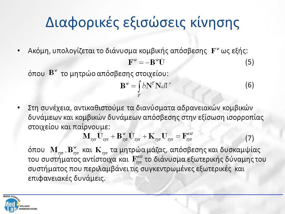 Διαφορικές εξισώσεις κίνησης Ακόμη, υπολογίζεται το διάνυσμα κομβικής απόσβεσης ως εξής: (5) όπου το μητρώο απόσβεσης στοιχείου: (6) Στη συνέχεια, αντ