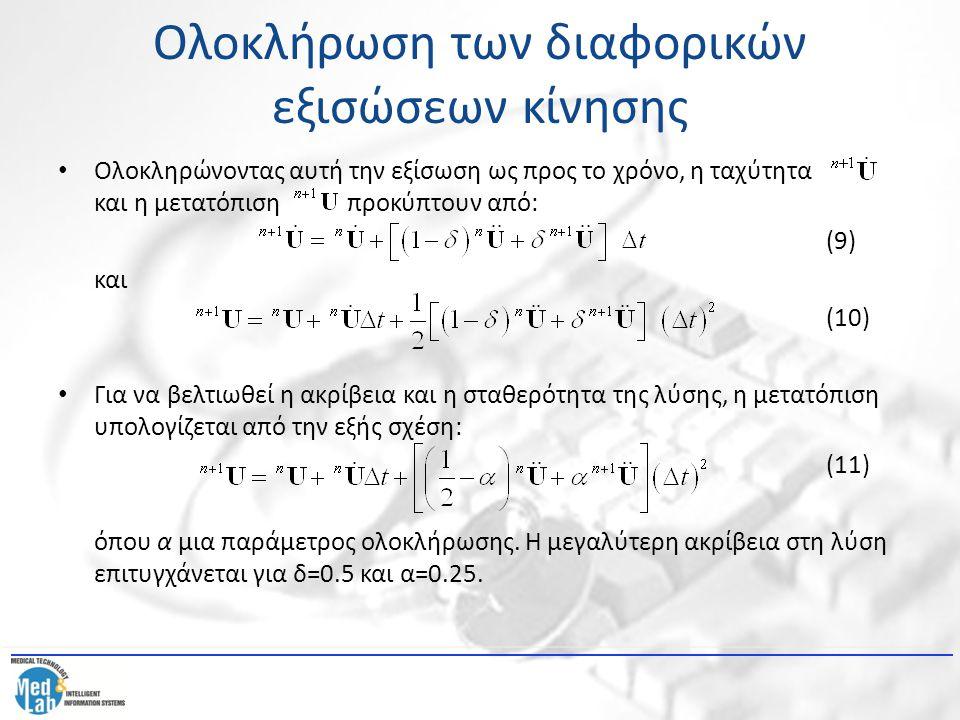 Ολοκλήρωση των διαφορικών εξισώσεων κίνησης Με ανάλογες αντικαταστάσεις προκύπτει τελικά ότι: (12) Ακολούθως προκύπτει ότι: (13) Τελικά η διαφορική εξίσωση κίνησης του πεπερασμένου στοιχείου για το τέλος του χρονικού βήματος μπορεί να γραφεί ως: (14) Αντικαθιστώντας την επιτάχυνση και την ταχύτητα στην προηγούμενη εξίσωση, καταλήγουμε στο εξής σύστημα αλγεβρικών εξισώσεων: (15)
