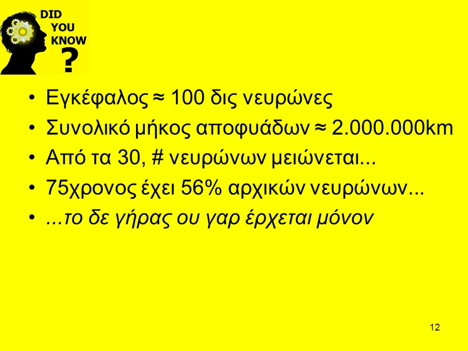 12 Εγκέφαλος ≈ 100 δις νευρώνες Συνολικό μήκος αποφυάδων ≈ 2.000.000km Από τα 30, # νευρώνων μειώνεται... 75χρονος έχει 56% αρχικών νευρώνων......το δ