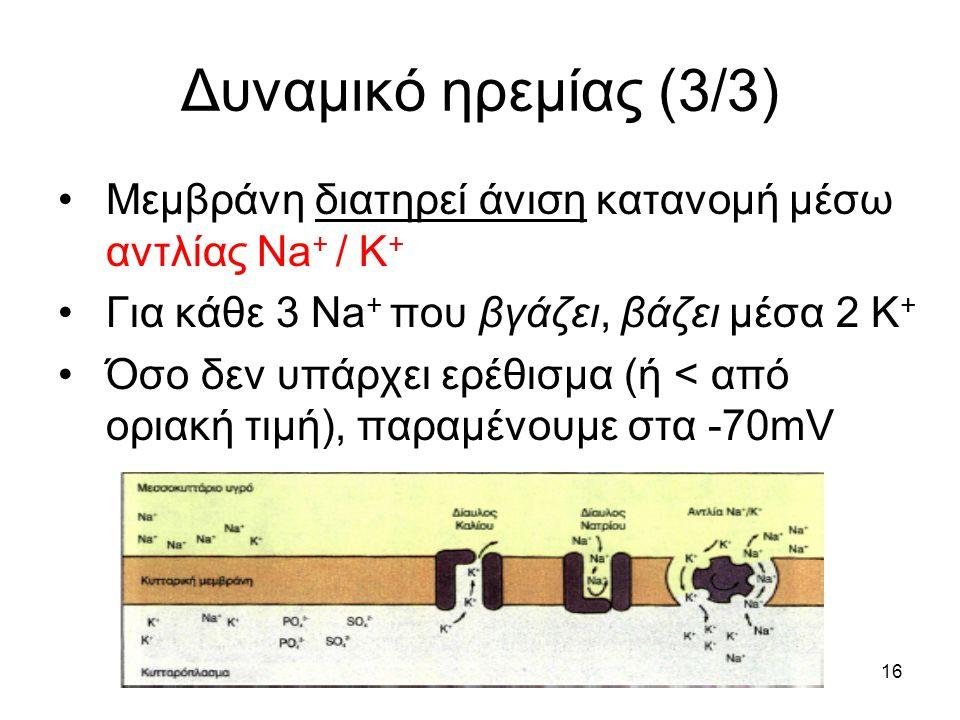 16 Δυναμικό ηρεμίας (3/3) Μεμβράνη διατηρεί άνιση κατανομή μέσω αντλίας Na + / Κ + Για κάθε 3 Na + που βγάζει, βάζει μέσα 2 Κ + Όσο δεν υπάρχει ερέθισμα (ή < από οριακή τιμή), παραμένουμε στα -70mV