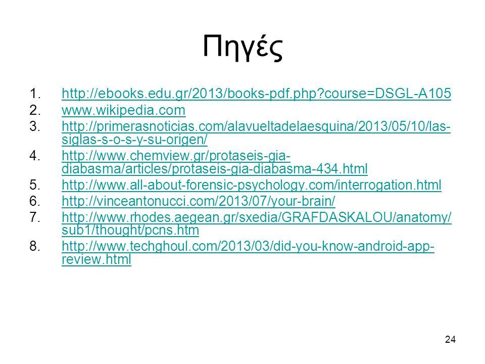 24 Πηγές 1.http://ebooks.edu.gr/2013/books-pdf.php?course=DSGL-A105http://ebooks.edu.gr/2013/books-pdf.php?course=DSGL-A105 2.www.wikipedia.comwww.wikipedia.com 3.http://primerasnoticias.com/alavueltadelaesquina/2013/05/10/las- siglas-s-o-s-y-su-origen/http://primerasnoticias.com/alavueltadelaesquina/2013/05/10/las- siglas-s-o-s-y-su-origen/ 4.http://www.chemview.gr/protaseis-gia- diabasma/articles/protaseis-gia-diabasma-434.htmlhttp://www.chemview.gr/protaseis-gia- diabasma/articles/protaseis-gia-diabasma-434.html 5.http://www.all-about-forensic-psychology.com/interrogation.htmlhttp://www.all-about-forensic-psychology.com/interrogation.html 6.http://vinceantonucci.com/2013/07/your-brain/http://vinceantonucci.com/2013/07/your-brain/ 7.http://www.rhodes.aegean.gr/sxedia/GRAFDASKALOU/anatomy/ sub1/thought/pcns.htmhttp://www.rhodes.aegean.gr/sxedia/GRAFDASKALOU/anatomy/ sub1/thought/pcns.htm 8.http://www.techghoul.com/2013/03/did-you-know-android-app- review.htmlhttp://www.techghoul.com/2013/03/did-you-know-android-app- review.html
