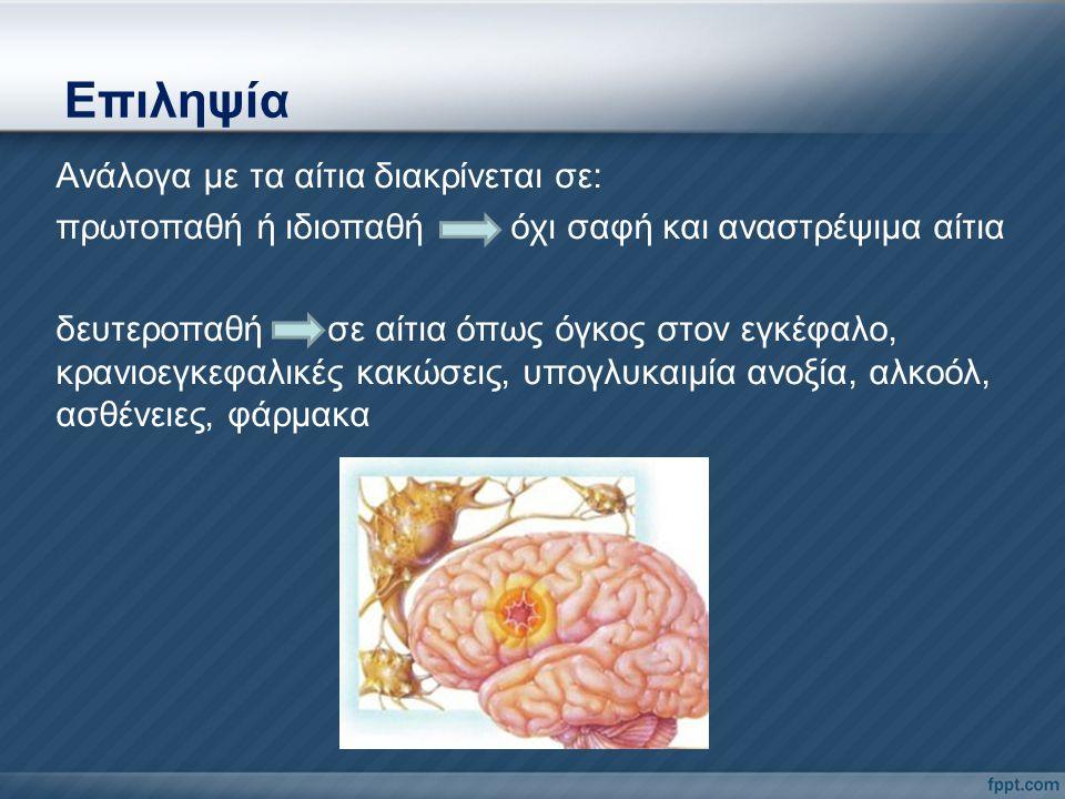 Ανάλογα με τα αίτια διακρίνεται σε: πρωτοπαθή ή ιδιοπαθή όχι σαφή και αναστρέψιμα αίτια δευτεροπαθή σε αίτια όπως όγκος στον εγκέφαλο, κρανιοεγκεφαλικ