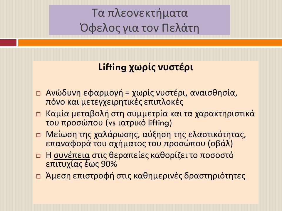 Τα πλεονεκτήματα Όφελος για τον Πελάτη Lifting χωρίς νυστέρι  Ανώδυνη εφαρμογή = χωρίς νυστέρι, αναισθησία, πόνο και μετεγχειρητικές επιπλοκές  Καμί